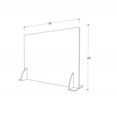 Premium Cough & Sneeze Guard 32x24 3mm Acrylic (with stabilizer)  Bottom closed